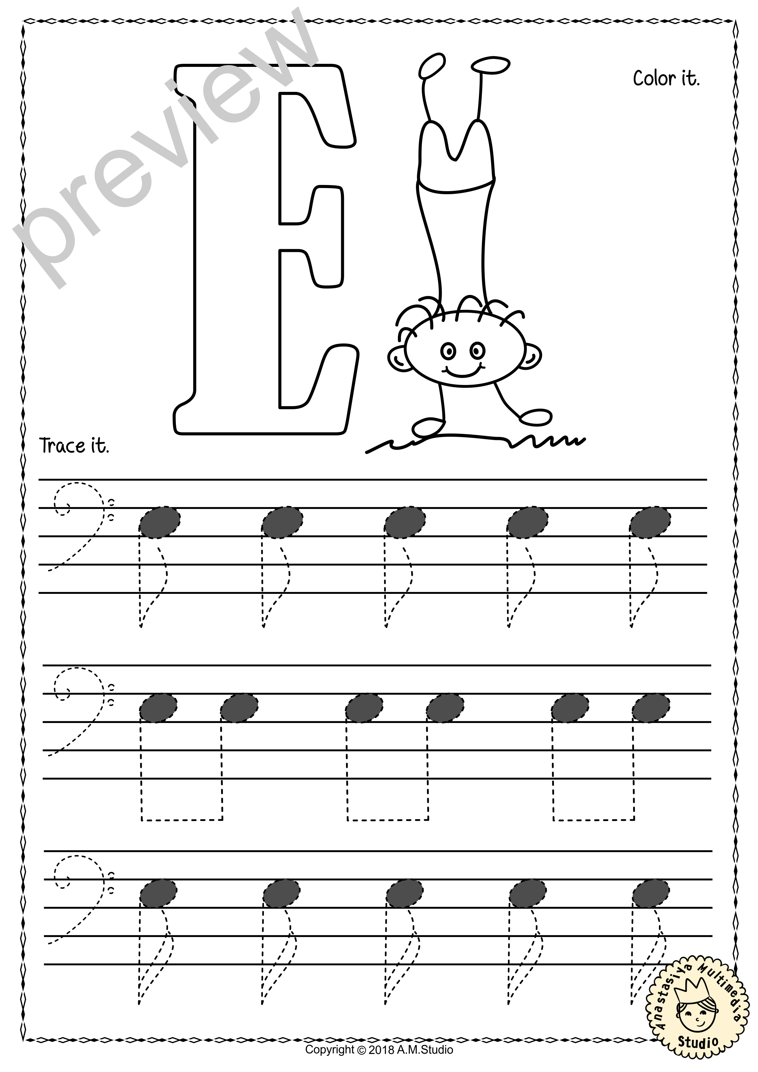 Tracing Music Notes Worksheets For Kids Bass Clef