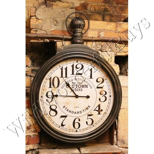 Vintage Style Oversized Pocket Watch Wall Clock New 0