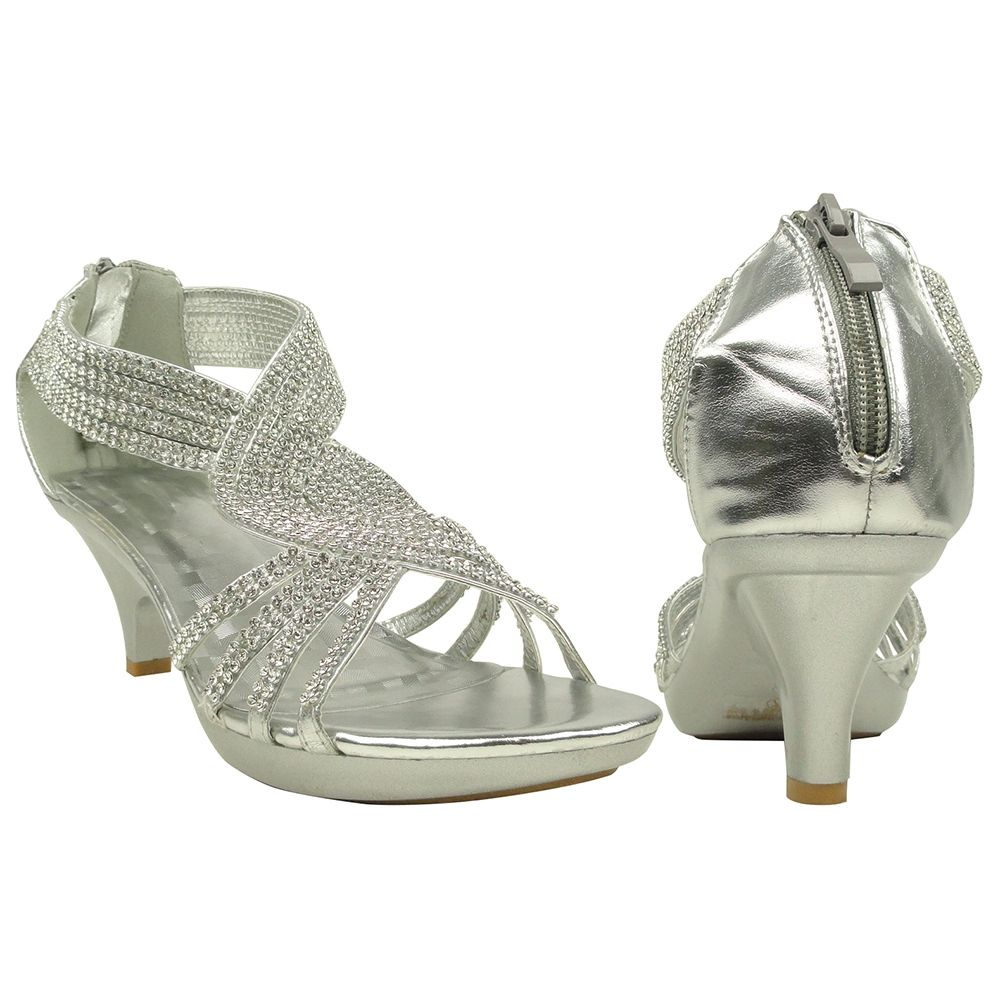 Womens Low Platform Heel Sandals Overlay Twist Embellished Strap Sz 5 10  Silver, Dress