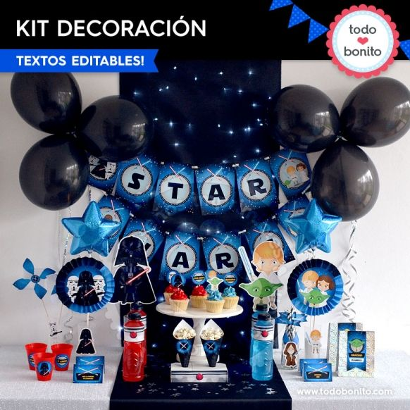Star wars decoraci n de fiesta para imprimir fiestas for Decoracion de cuarto star wars