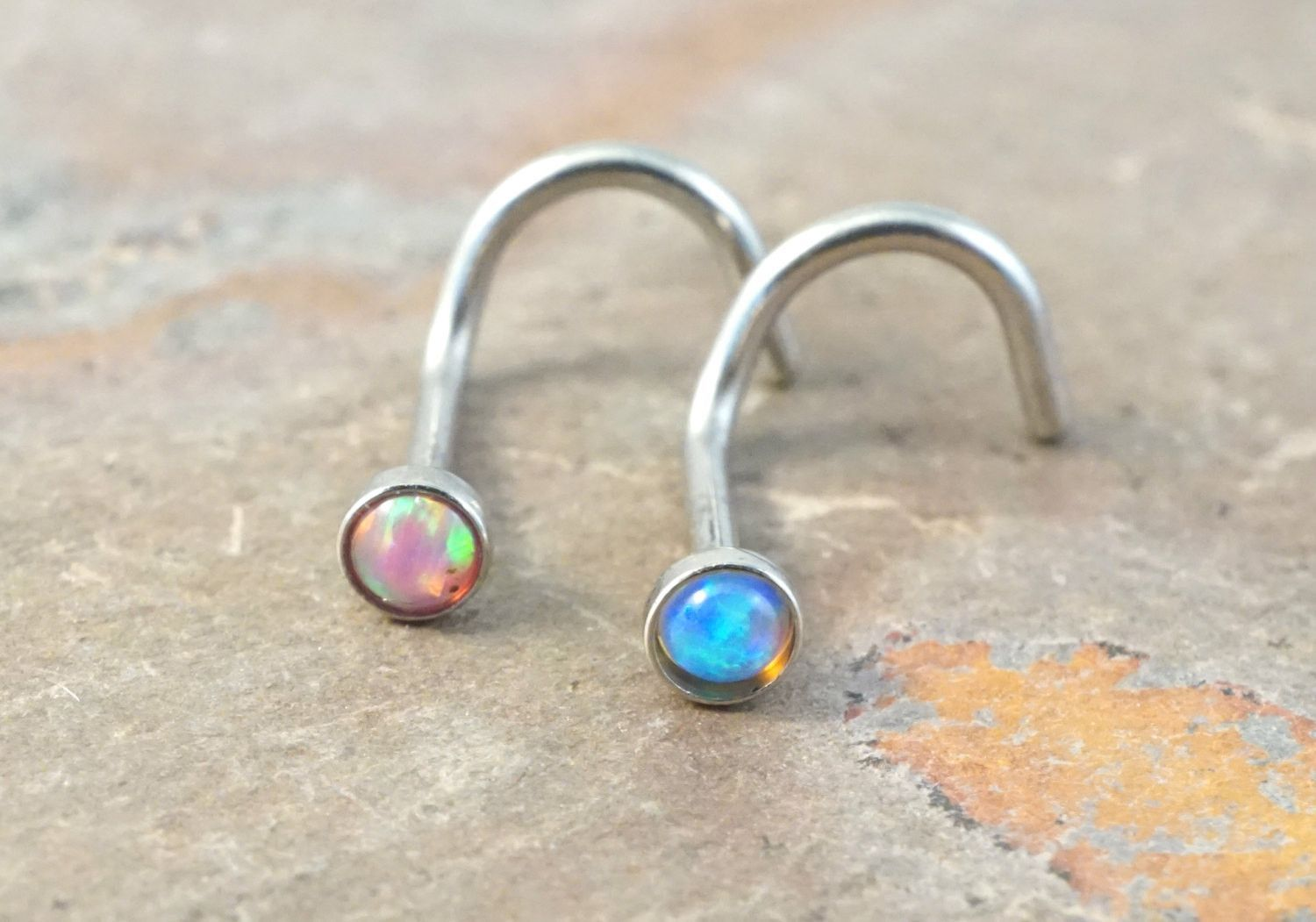 Corkscrew nose piercing  Pink Opal and Turquoise Blue Fire Opal Nose Bone Ring Stud