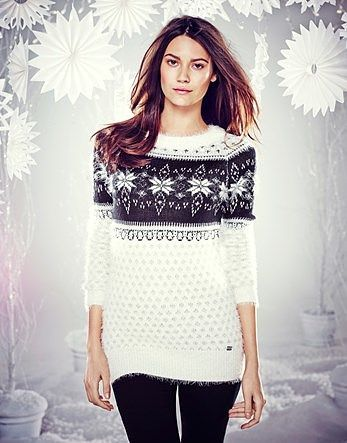 Womens black and white fairisle yoke Christmas jumper from Lipsy ...