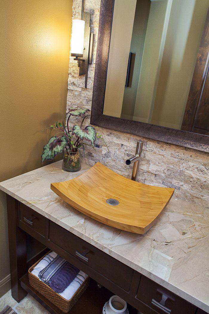 Powder bath in Austin, Texas Rock tile wall, bamboo vessel sink ...