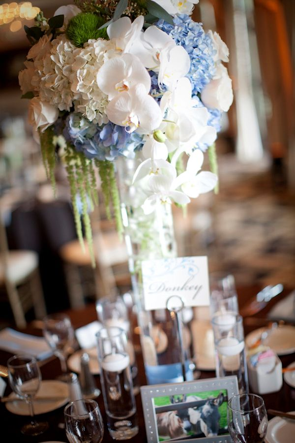 Tall blue reception wedding flowers decor
