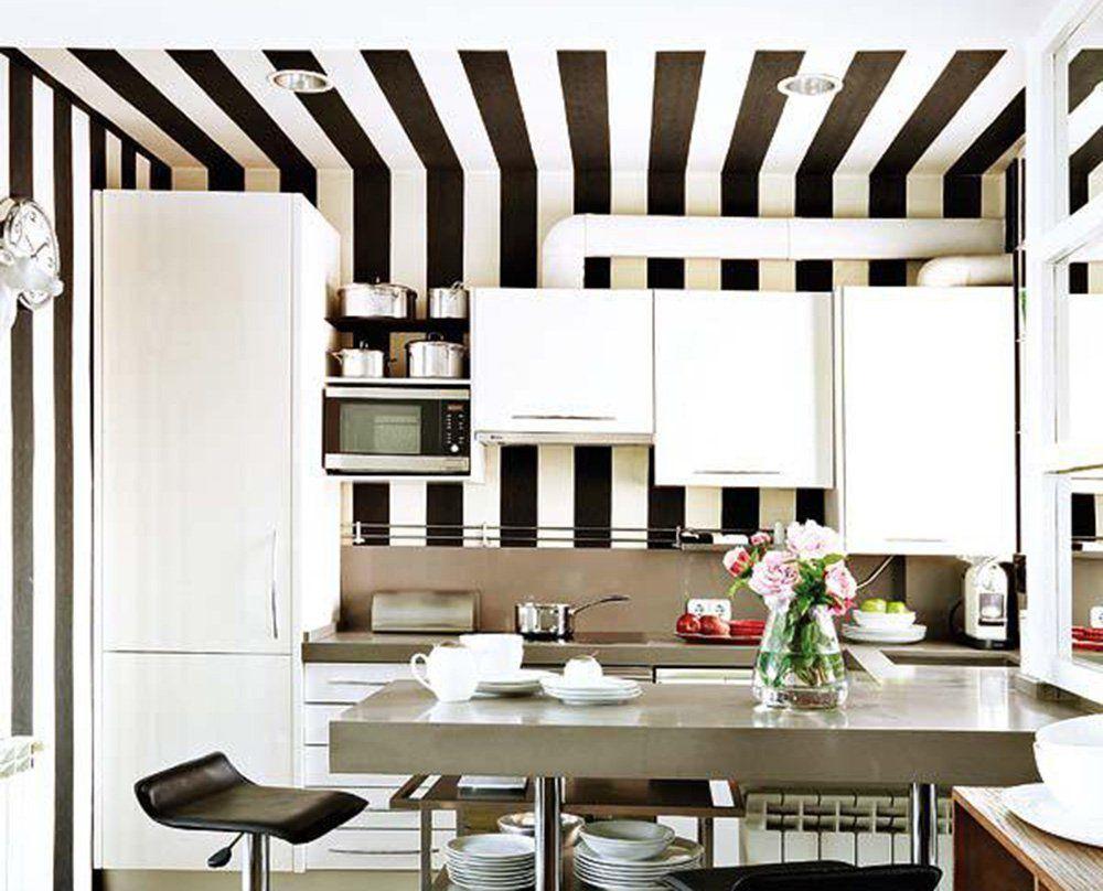 Kitchen Featuring Striped Wallpaper Stripes Black White Kitchendesign Kitchenideas Striped Hallway Interior Spaces Home