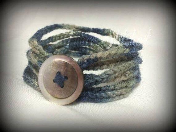 Crotchet wrap bracelet blue grey boho bracelet by TwiceStitched