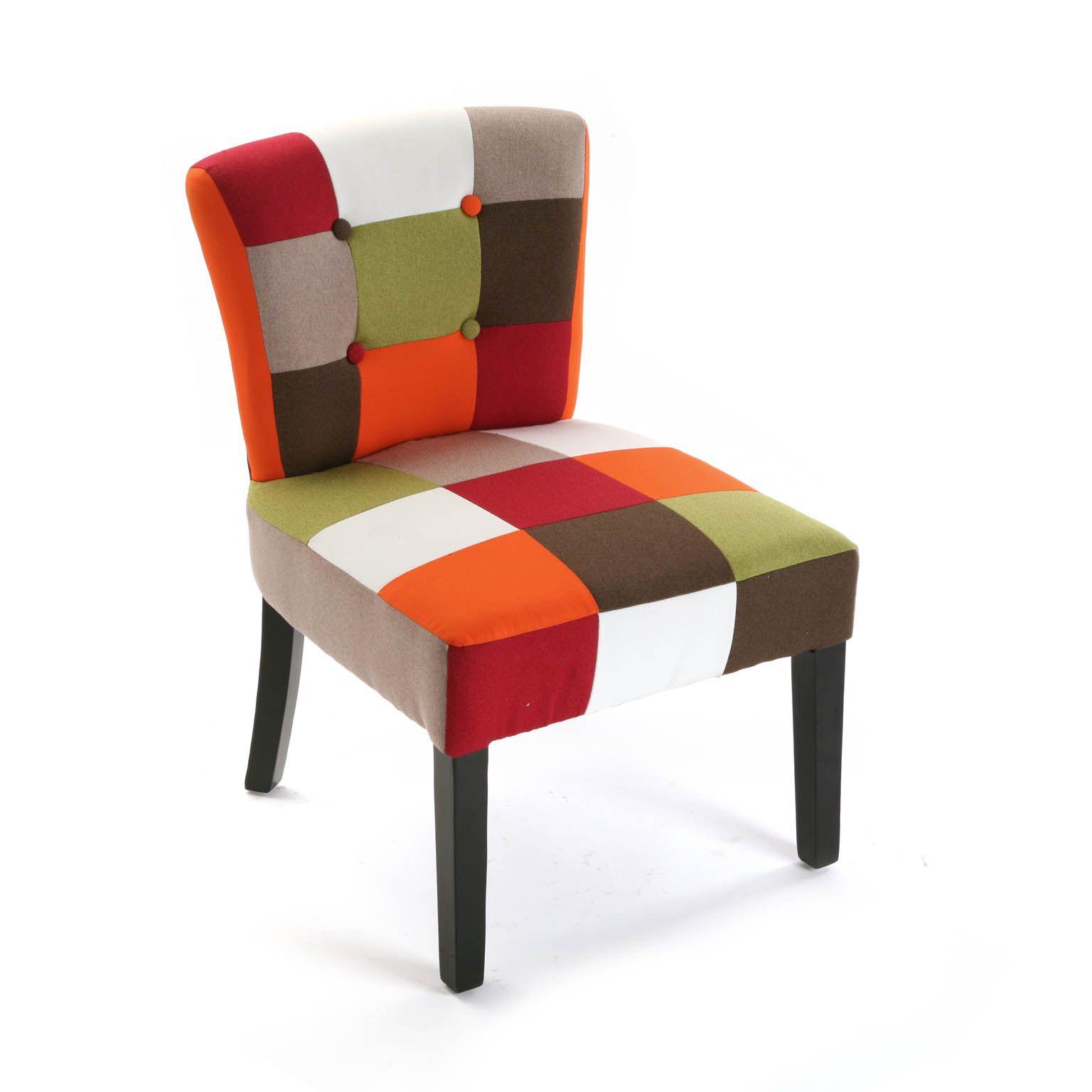 Fauteuil Chaise En Tissu Patchwork Colore Et Pieds Bois 64x62x56cm Green Fauteuil Fauteuil Multicolore Chaises Colorees