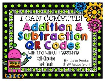 Addition and Subtraction QR Code Self-Checking Task Cards