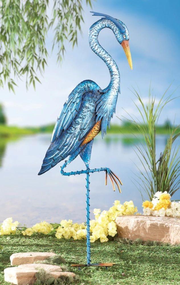 Blue Heron Crane Garden Stake Yard Art Outdoor Decorative Metal 34 H New I7143 Blueheron Gardenstake Yardart Cranebird