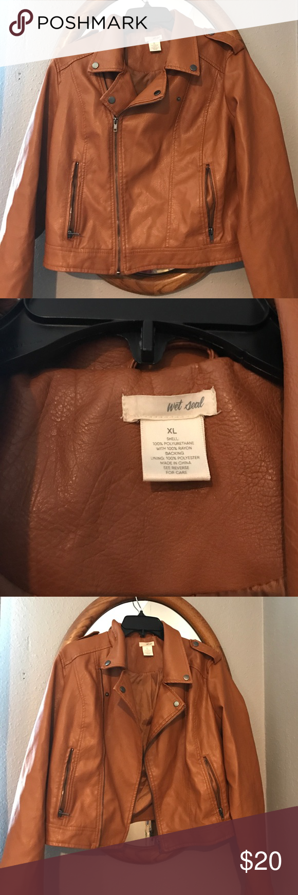 Brown Faux Leather Jacket This jacket is from Wet Seal! Brand new never been worn. NWOT. XL was just too big for me. Perfect condition. Great color! Wet Seal Jackets & Coats
