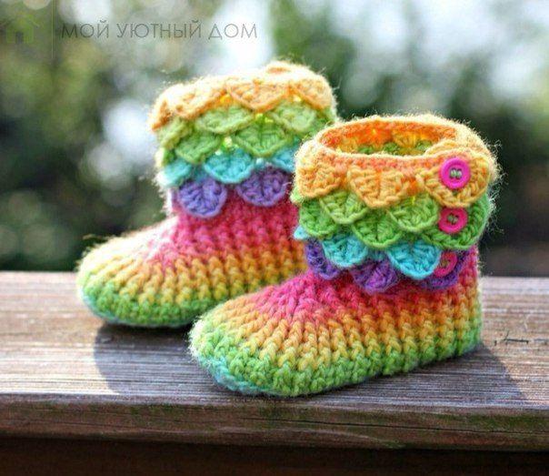 Patron para tejer botines a crochet Ideas de Manualidades ...