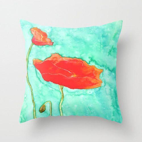 Decorative Poppy Floral Pillow Cover - Throw Pillow Cushion - Fine Art Home Decor