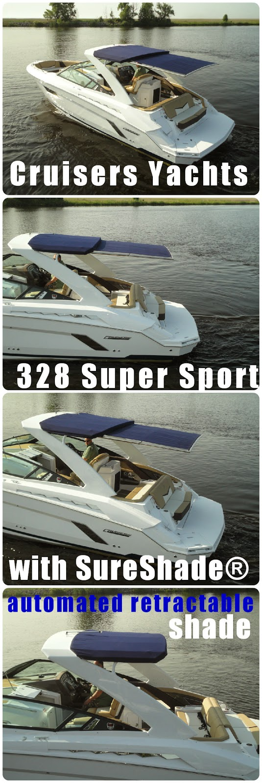 Cruisers Yachts 328 Super Sport With Automated Retractable Sunshade For Full Shade Coverage In Cockpit Of The Sportboat Cool Boats Yacht Boat Brands