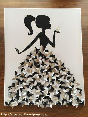 Kleid aus schmetterlingen frau maedchen mit zopf leinwand bild stempeljuli ideen basteln - Leinwand gestalten basteln ...