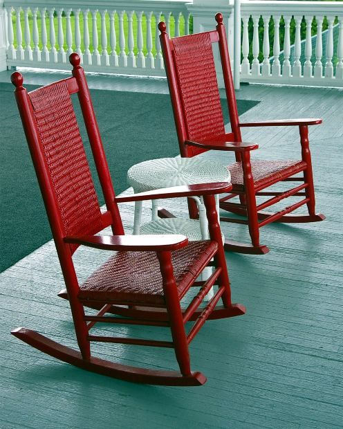 Red rocking chairs for the front porch to match the door