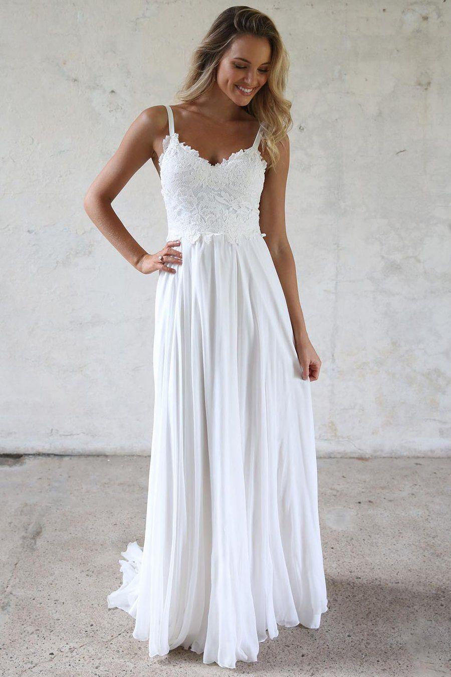 Aline Spaghetti Straps Lace Top Beach Wedding Dresses