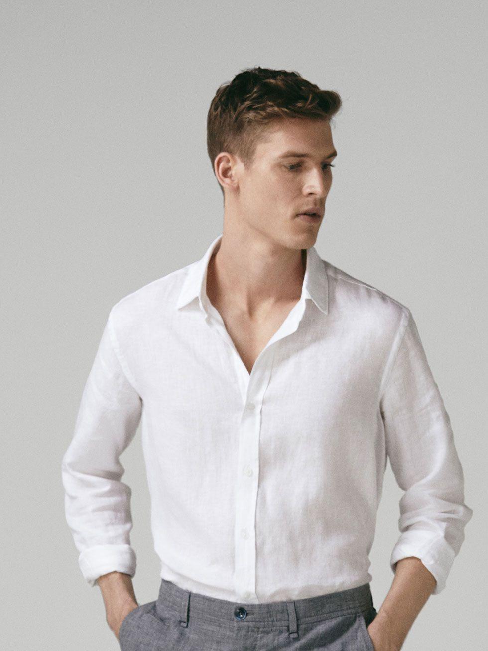 Slim Fit Dyed Linen Shirt Men Massimo Dutti Linen Shirt Men White Shirt Men Men Shirt Style [ 1306 x 980 Pixel ]