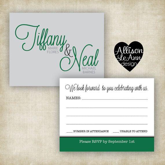 Rsvp For Love Is Patient Kind Wedding Invitation Set By Allison Leann Design Green Gray Black