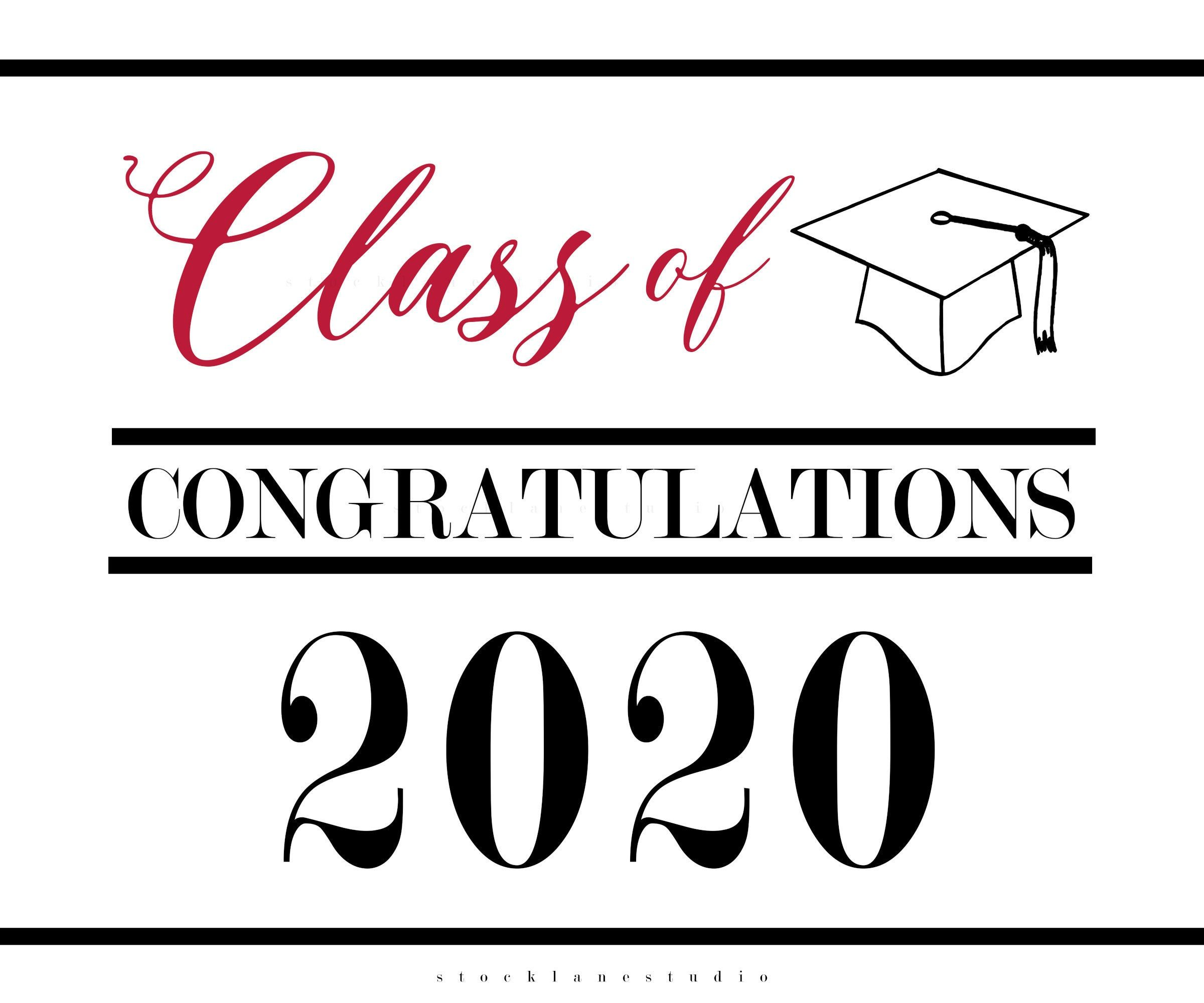 Printable Poster Congratulations Class of 2020 Graduation