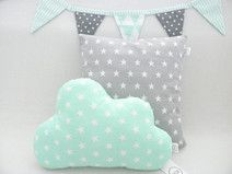 wolke kissen sterne mint kinderzimmer neugestaltung pinterest kissen kinderzimmer und n hen. Black Bedroom Furniture Sets. Home Design Ideas