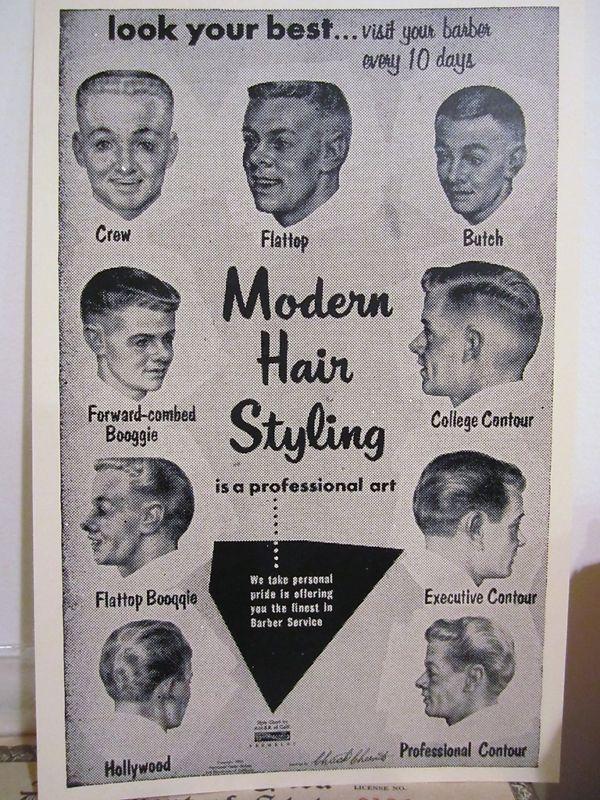 1957 Barbershop Modern 9 Haircut Photo Chart Sign Ads Modern Hairstyles Mid Hairstyles 1950s Mens Hairstyles