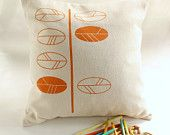 CUSHION COVERS - Autumn leaves design screen printed. $30.00, via Etsy.