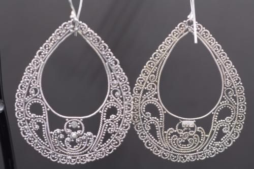 925 Sterling Silver Handmade Jewelry Filigree Tear Drop Dangle Earrings