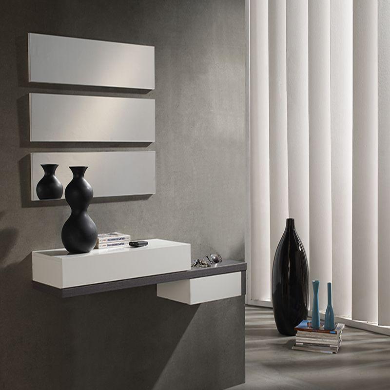 Meuble D Entree Blanc Et Gris Moderne Tryo Meuble Entree Design Meuble Entree Entree Moderne