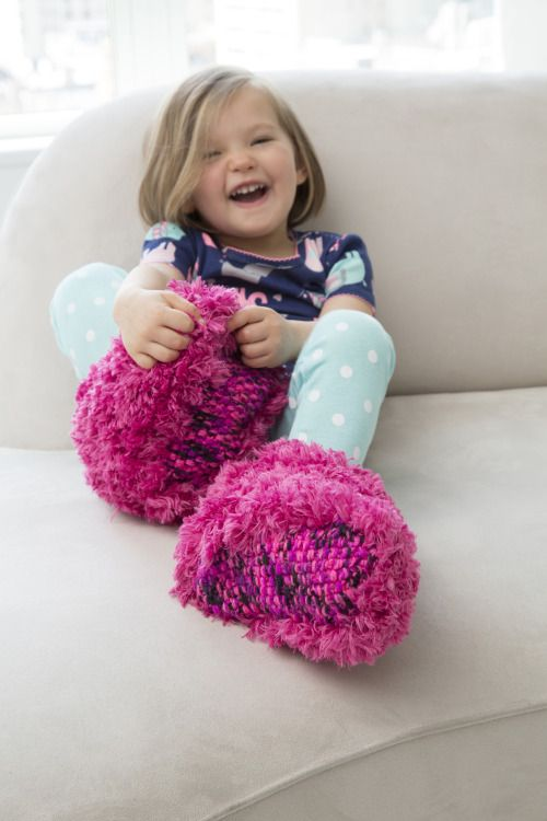 Child Fur Boot Slippers (LW4827) Free Knitting Pattern in Red Heart ...