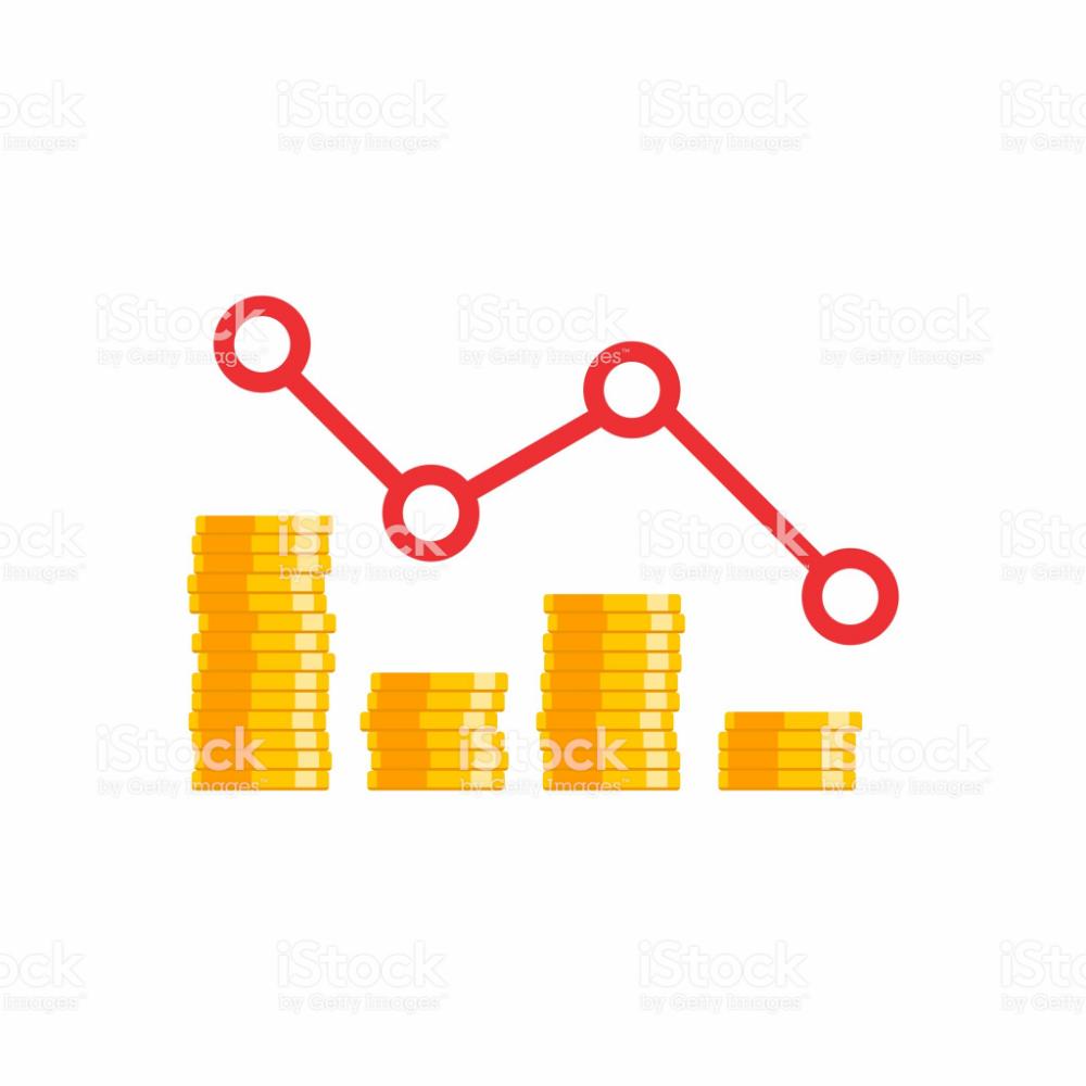 Coin Price Down Graph Vector Icon Flat Icon For Business Flat Icon Coin Prices Free Vector Art