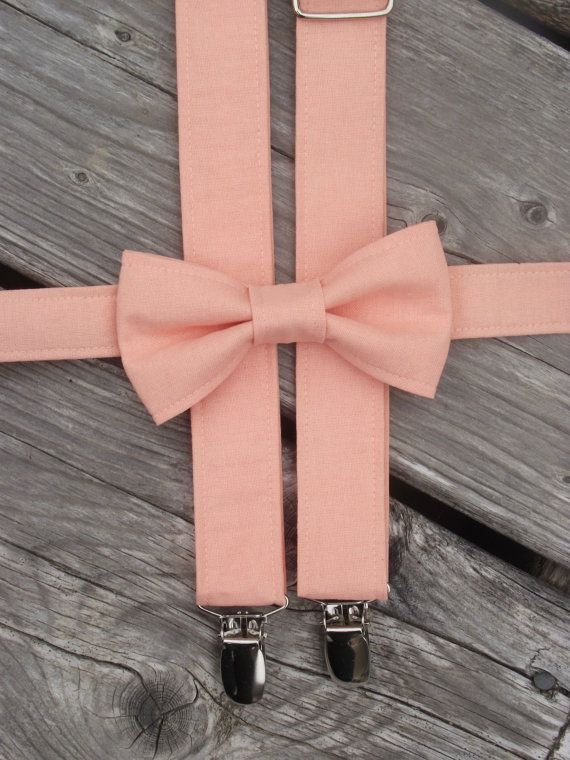 0ac1c7bc17c9 Boys Peach Bow Tie and Suspenders by TheBoytique on Etsy, $34.00 ...