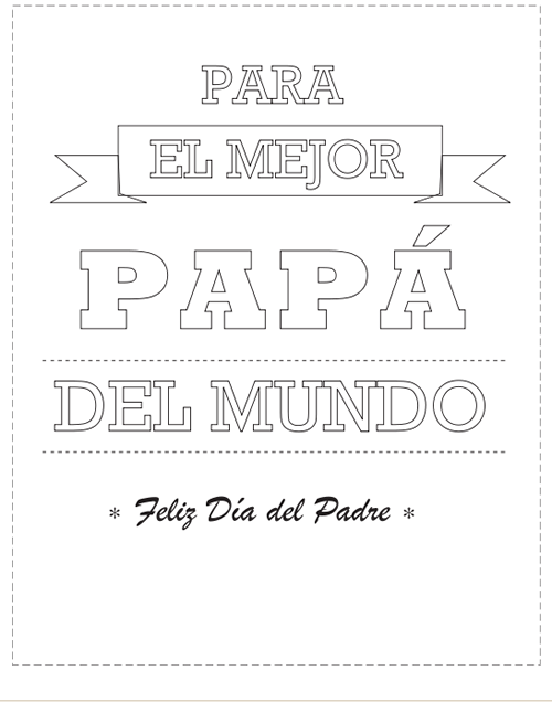 Tarjetas del Día del Padre para colorear | FONTS | Fathers day, Dad ...