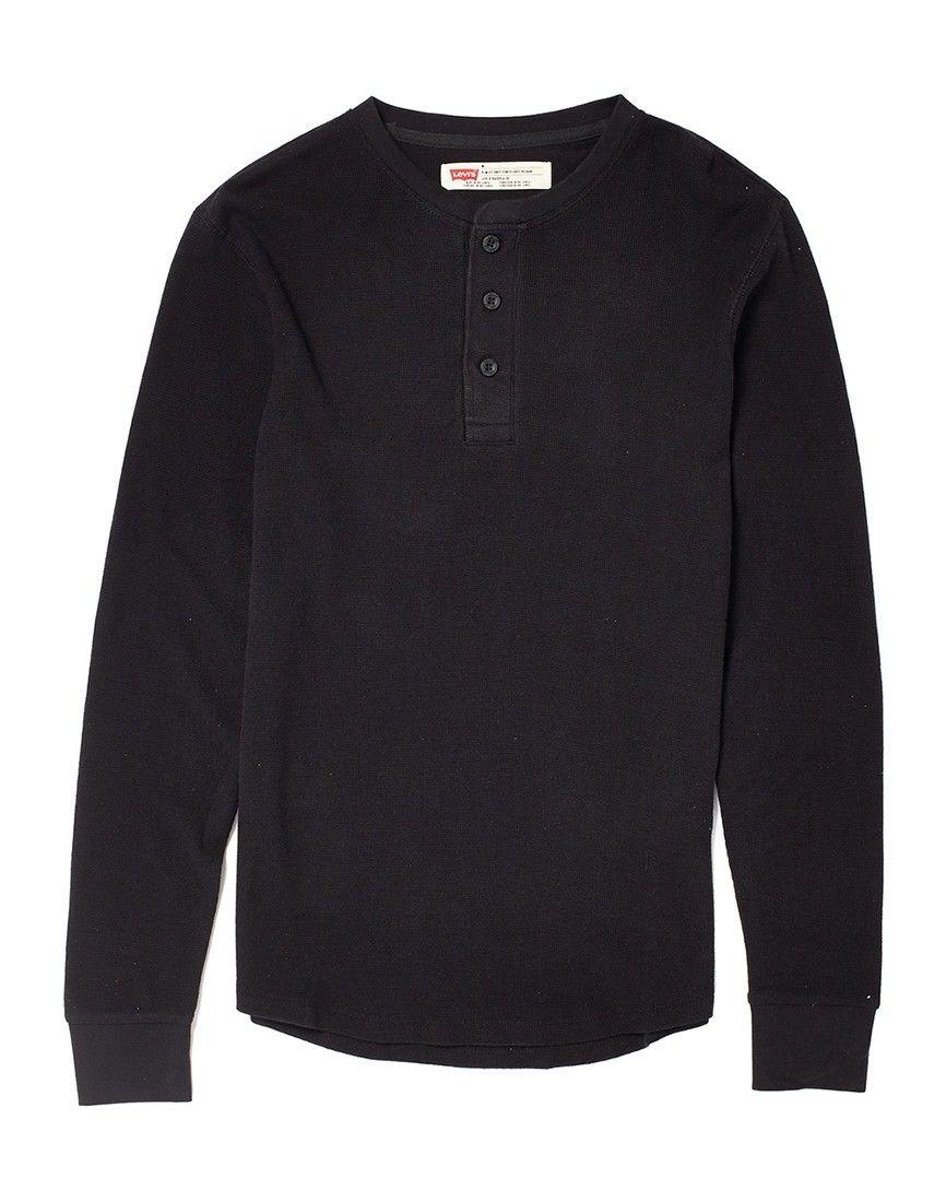 Levi's Long Sleeve Henley T Shirt in Waffle Fabric Flat