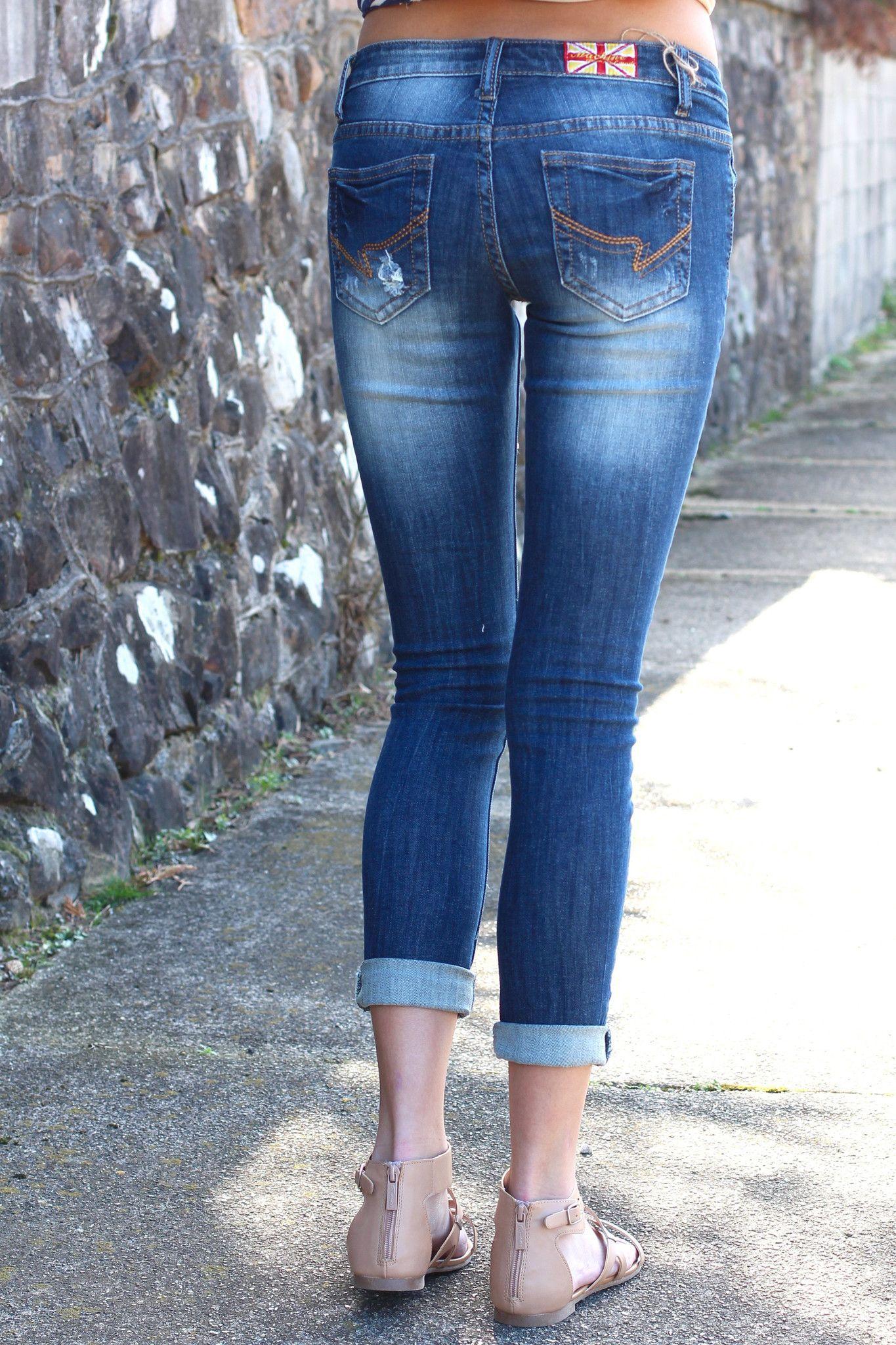 Distressed out capri jeans medium wash denim the