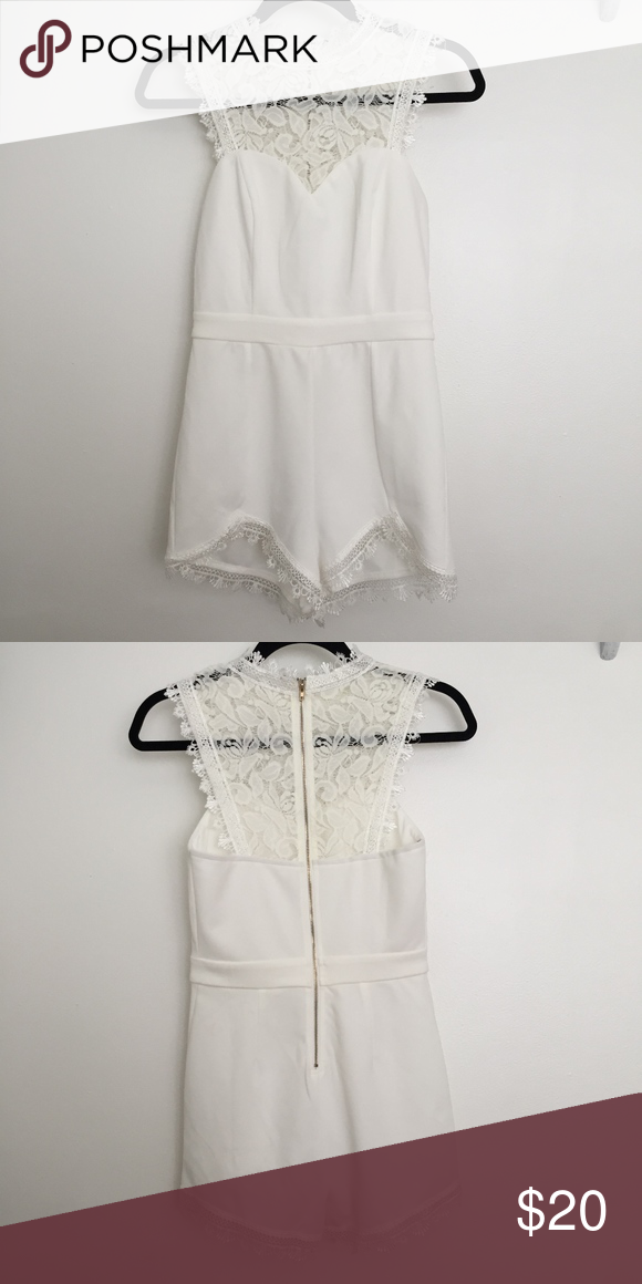 81c3da5b1cb6 White Lace Romper White Lace Shorts Romper with Zip up Back Nordstrom Pants  Jumpsuits   Rompers