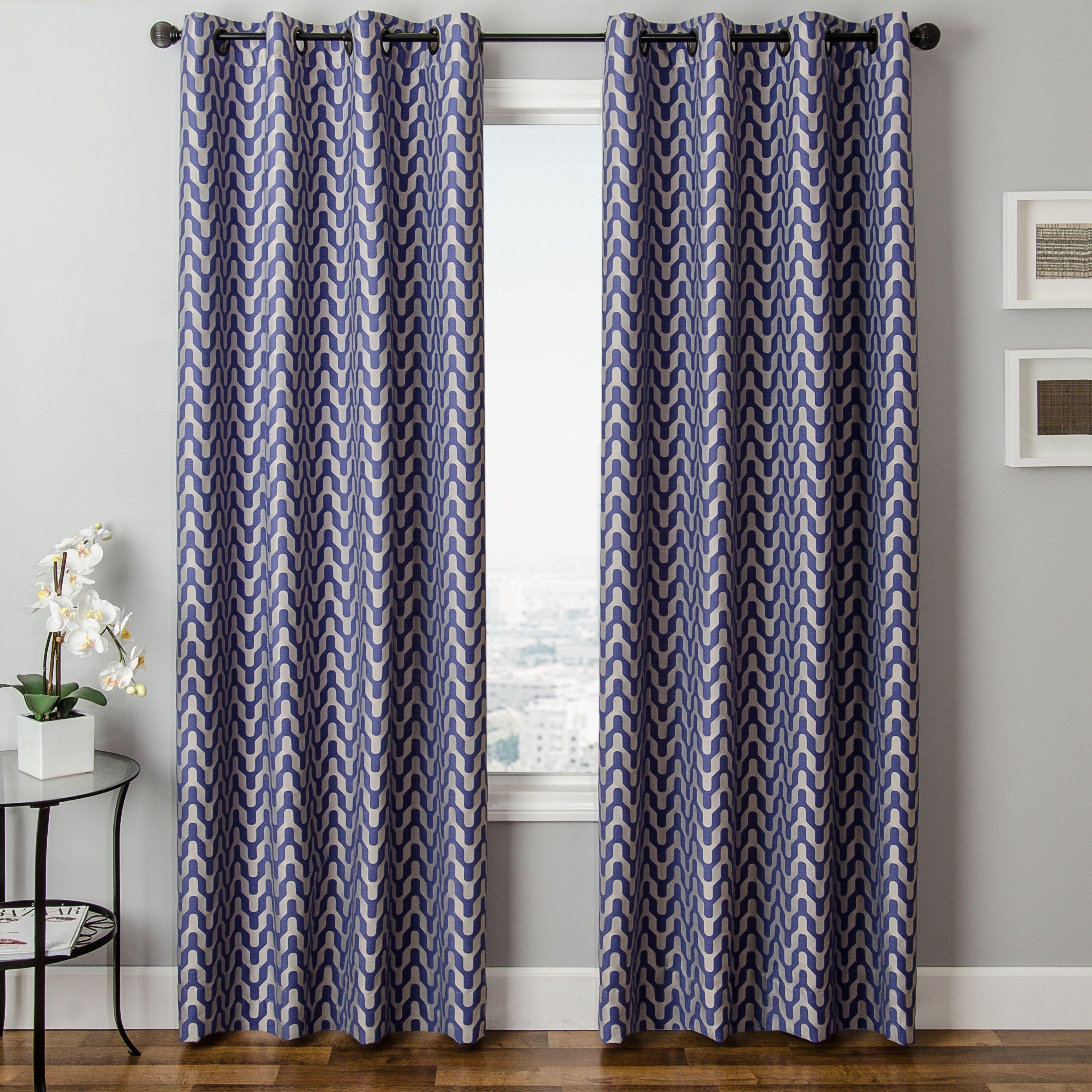 Vaughn 84 Jacquard Chevron Panel Curtain Ashley Furniture Homestore Living Room Drapes Rod Pocket Curtain Panels Panel Curtains
