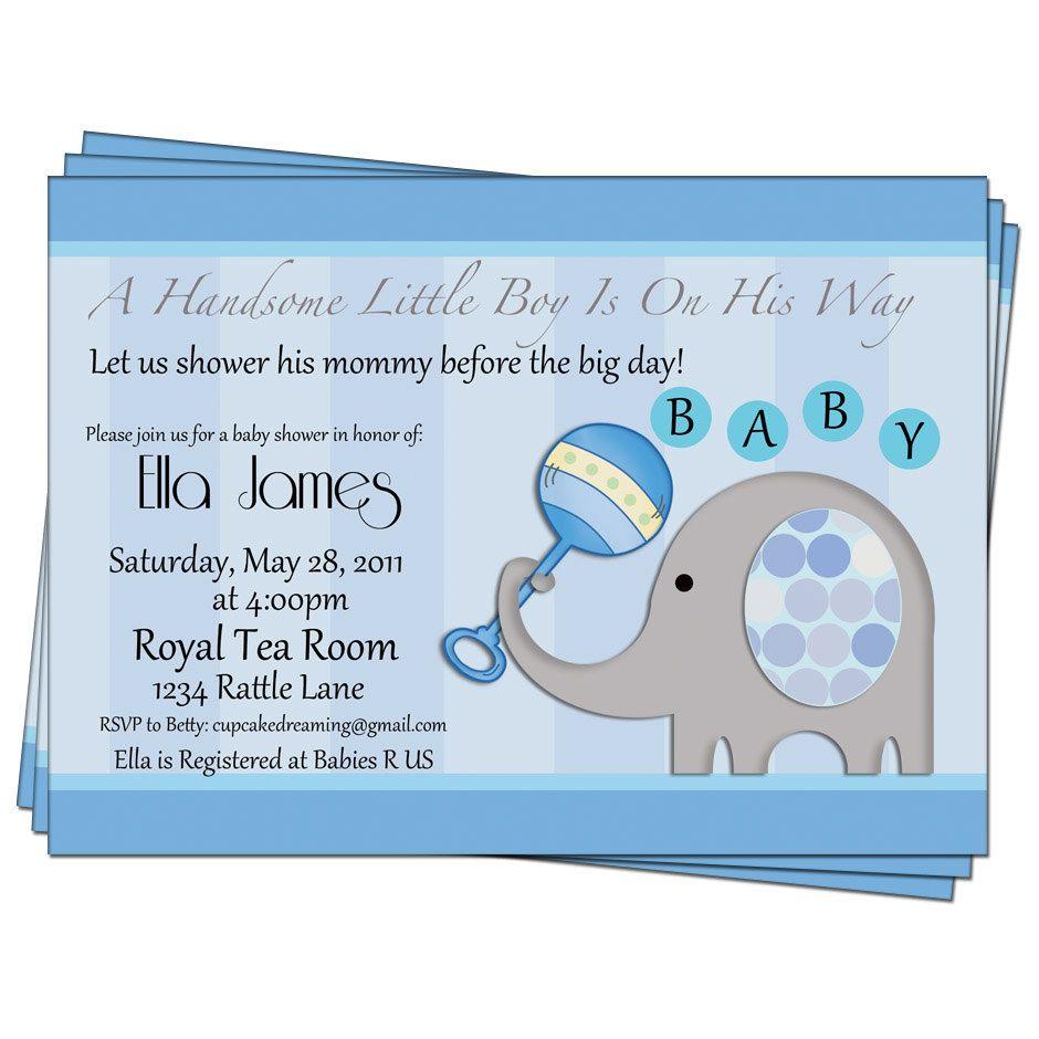 Party Invitation Baby Boy Shower Elephant