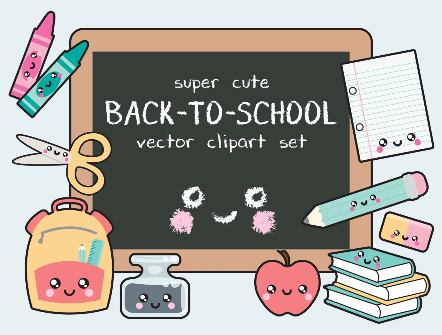 premium vector clipart - kawaii back to school clipart - kawaii clip