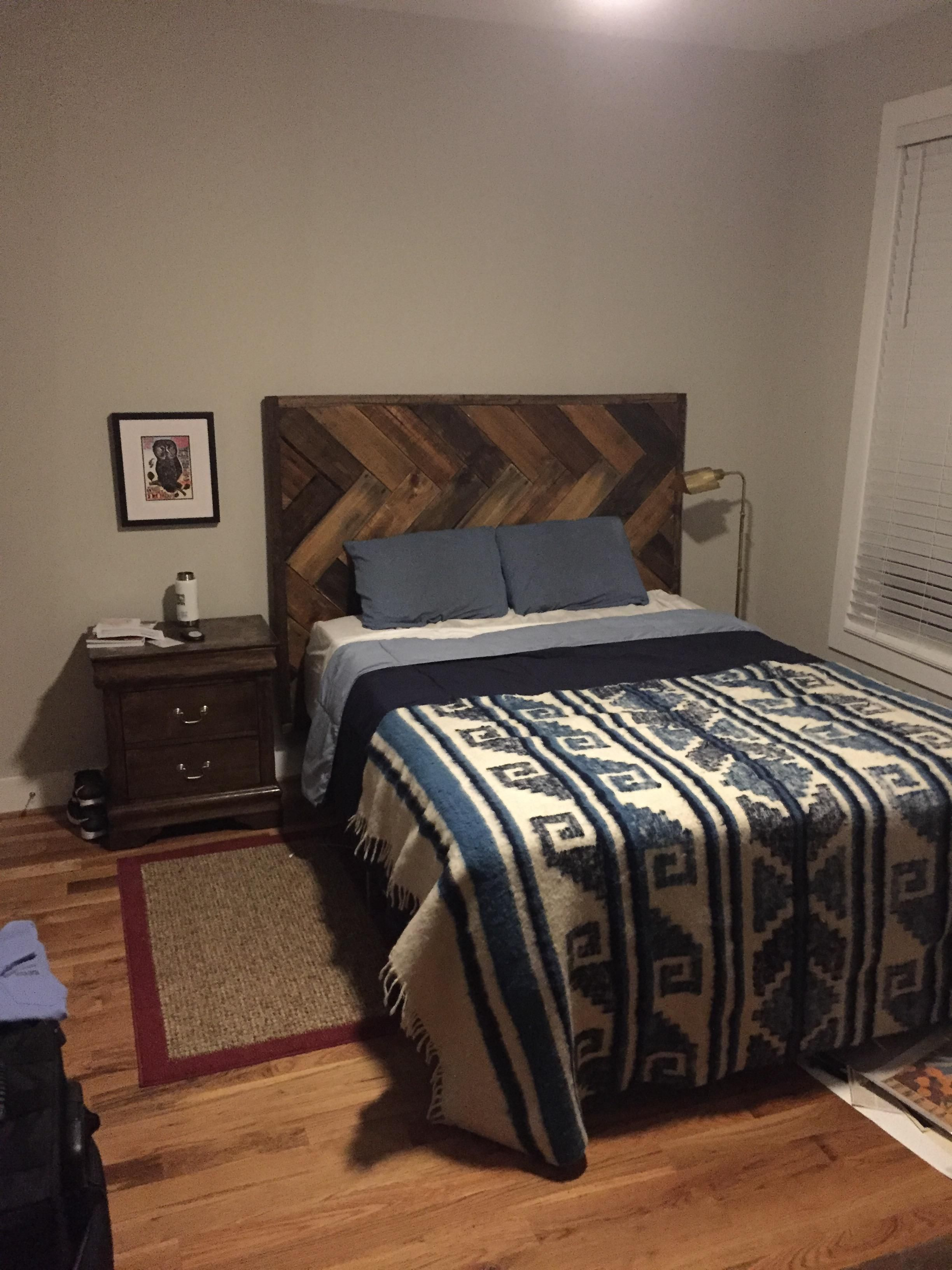 I made a headboard out of pallet wood for