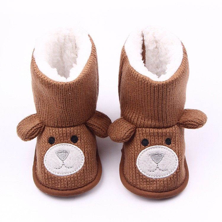 Monique 0-1 Year Old Toddler Winter Warm Fleece-Lined Boots Soft Sole Shoes Booties Prewalker