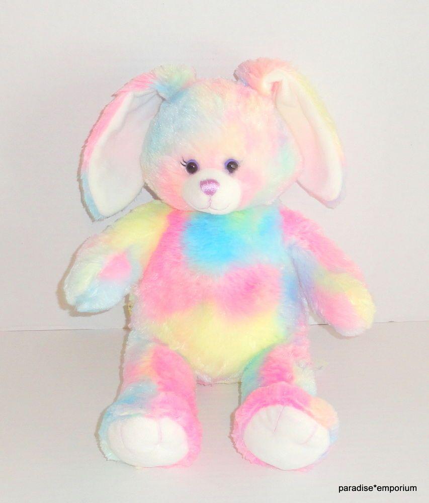 d81e9d3f8ce Build a Bear Rainbow Bunny Plush Tie Dye Pink Easter Rabbit 18