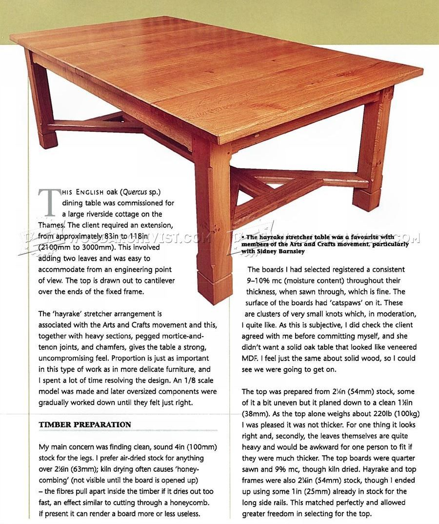 Arts And Crafts Dining Table Plans Table Plans Dinning Table