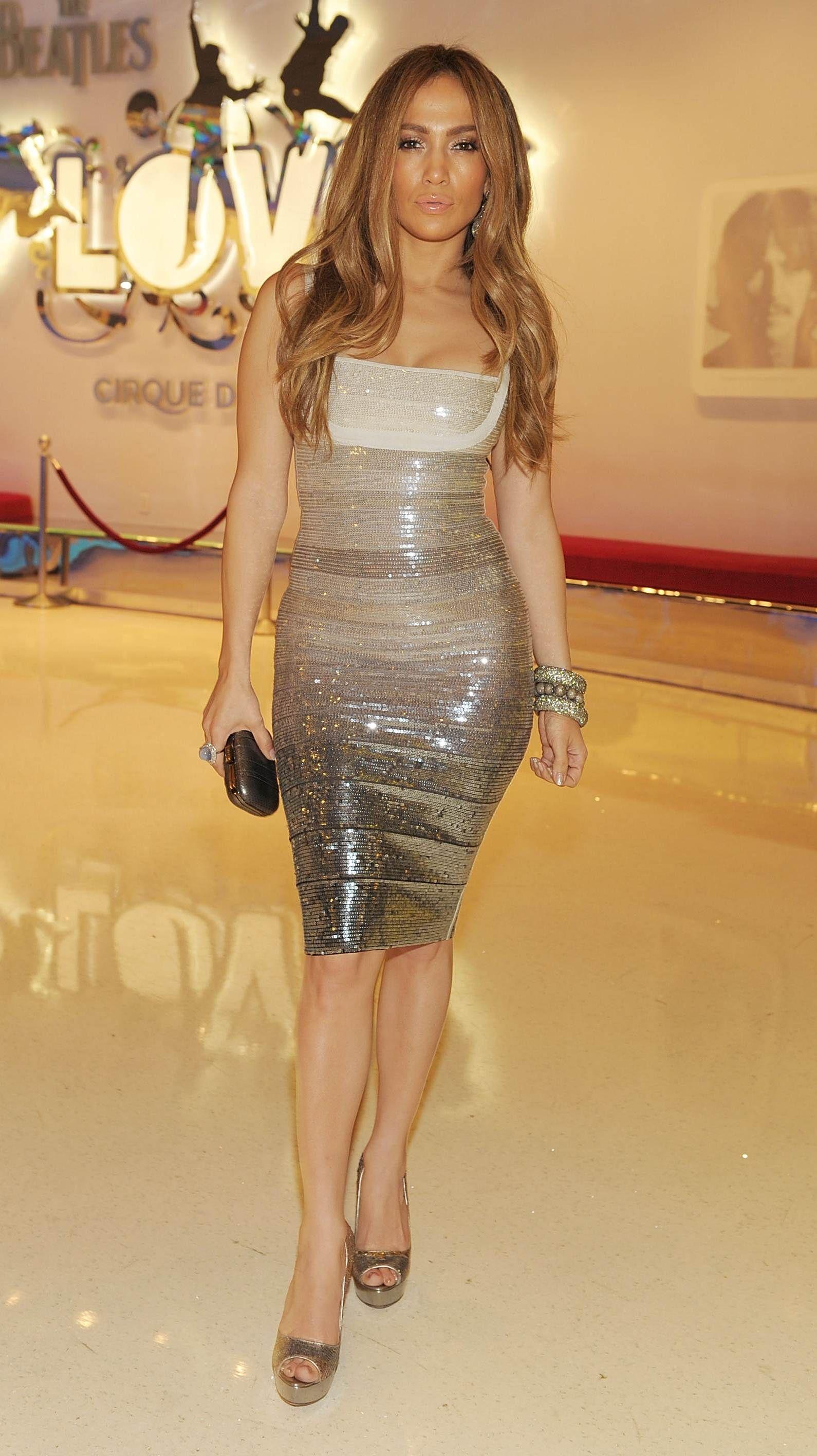 Jennifer Lopez Nude Dress Herve Leger Sexy Pink Cutout Res