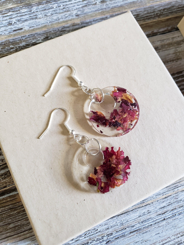 Photo of Red Rose Resin Earrings- Handmade Earrings- Real Rose Petal Earrings- Real Flower Earrings- Resin Hoops- Resin Earrings- Fall Leaves Earring