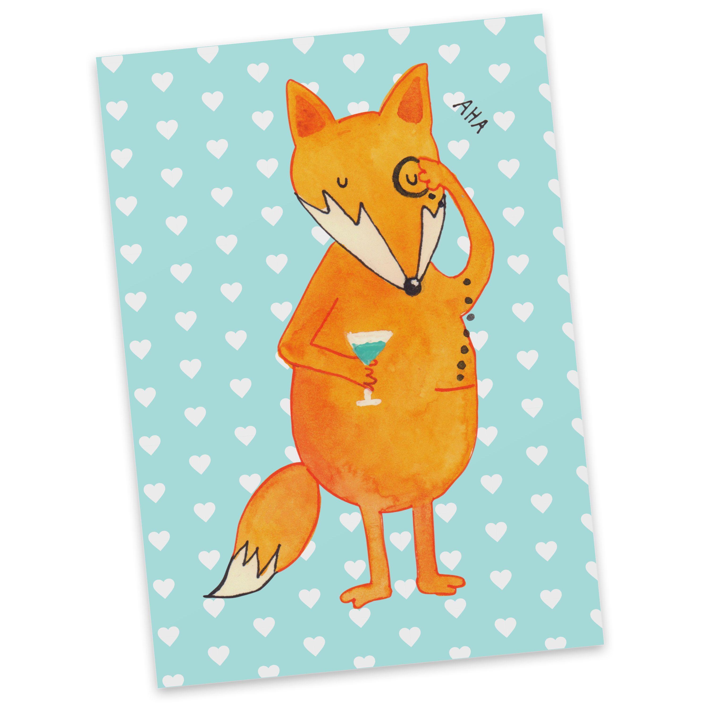 Postkarte Fuchs Lord aus Karton 300 Gramm  weiß - Das Original von Mr. & Mrs. Panda.  Diese wunderschöne Postkarte aus edlem und hochwertigem 300 Gramm Papier wurde matt glänzend bedruckt und wirkt dadurch sehr edel. Natürlich ist sie auch als Geschenkkarte oder Einladungskarte problemlos zu verwenden. Jede unserer Postkarten wird von uns per Hand entworfen, gefertigt, verpackt und verschickt.    Über unser Motiv Fuchs Lord  Die Fox Edition ist eine besonders liebevolle Kollektion von Mr…