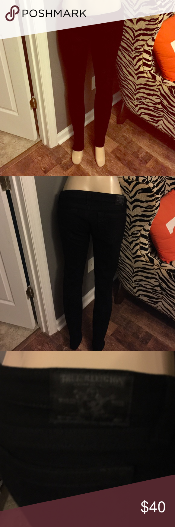 True Religion Black Stretch Skinny Jeans size 31 Brand new only worn for a few hours PERFECT condition True Religion Black stretch skinny jeans size 31 would fit size 8-10 I'm cleaning my closet out because I no longer fit in my clothes so, my loss is your win! True Religion Pants Skinny