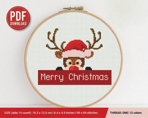 Merry Christmas Deer Embroidery Cross Stitch Pattern ...