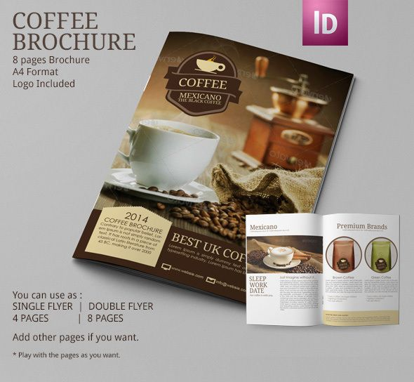 Coffee tri fold brochure template Tri fold brochure template - coffee shop brochure template