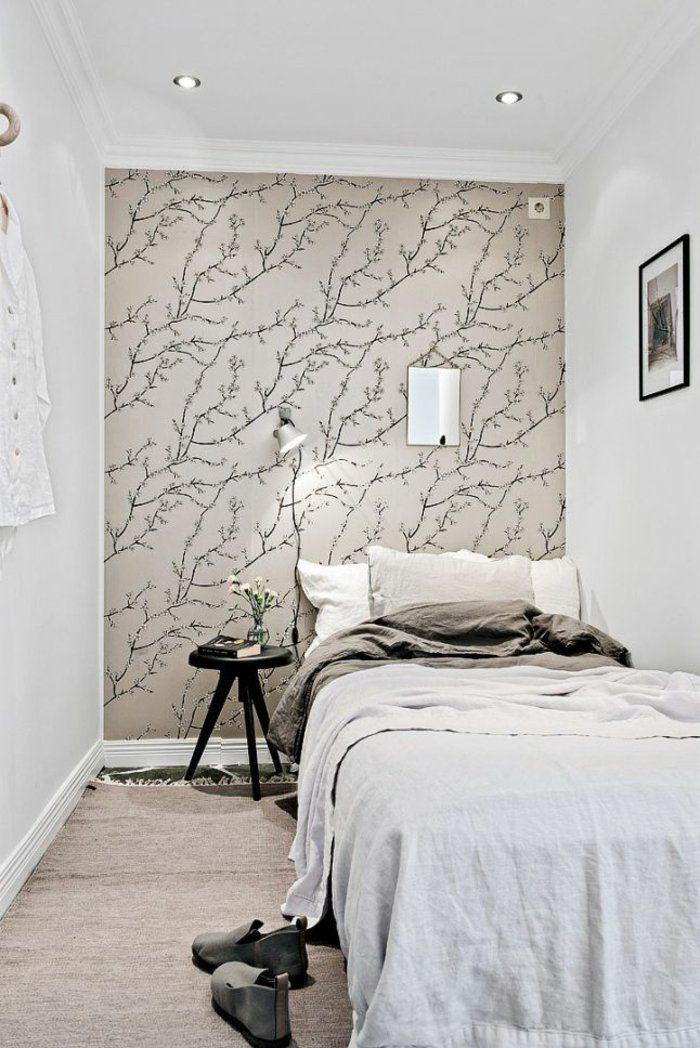 kleines schlafzimmer einrichten wanddekoration tapete rankenmuster