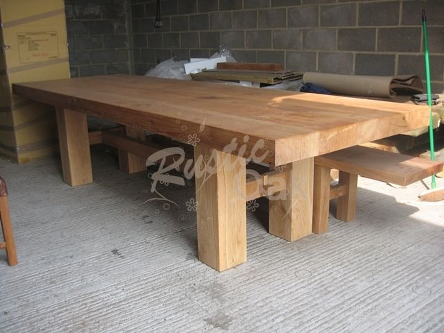 H Base Dining Table Dining Table Rustic Rustic Oak Furniture